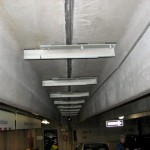 Precast parking garage reinforcement installed